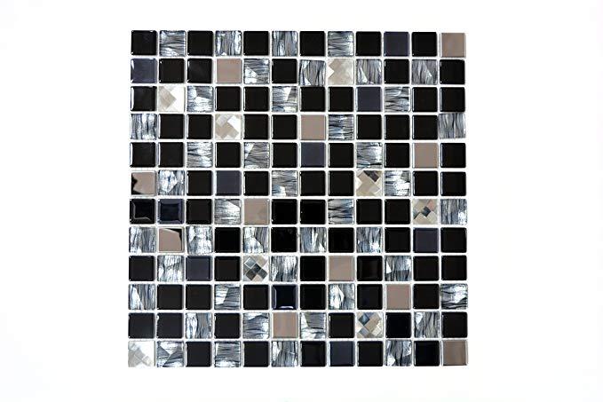 123mosaikfliesen Mosaikfliese schwarz Alu Glas