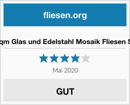 GTDE 1qm Glas und Edelstahl Mosaik Fliesen Schwarz Test