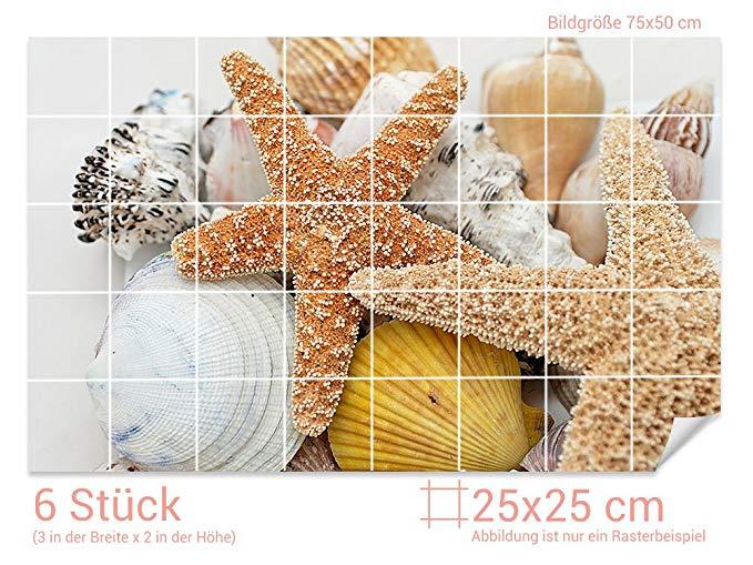 GRAZDesign Fliesenaufkleber Seesterne/Muscheln