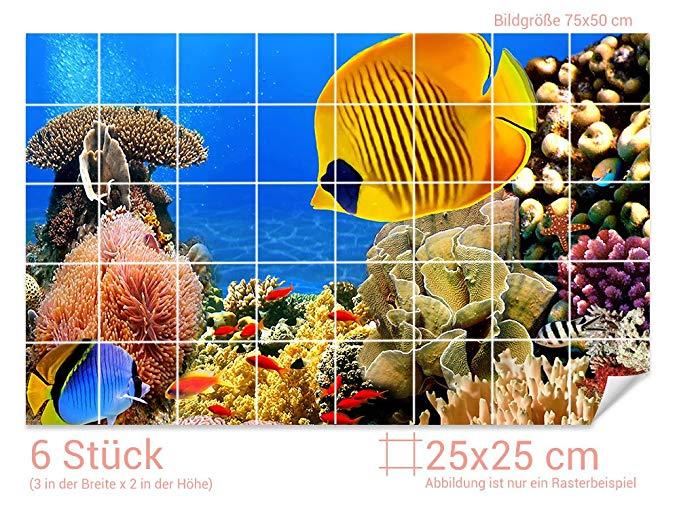 GRAZDesign Fliesenaufkleber Unterwasser-Welt für Kacheln
