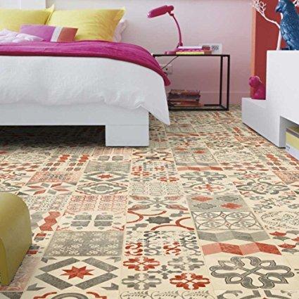 Living Floor PVC Bodenbelag Shabby Retro Rot