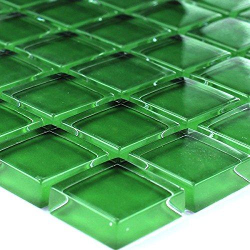Mosafil Glasmosaik Mosaik Fliesen Grün Uni