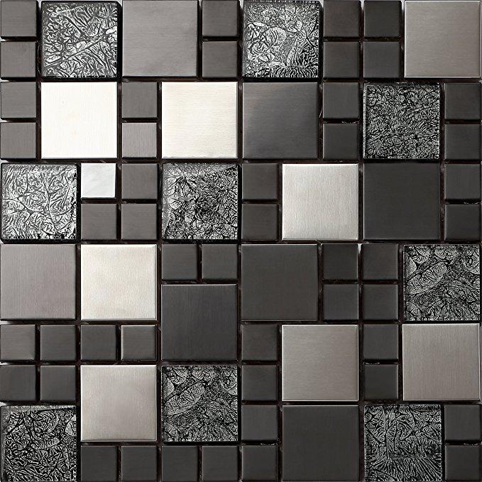 no name Glas und Edelstahl Mosaik Fliesen Matte