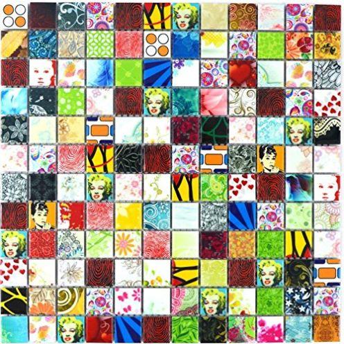 Mosaik-Netzwerk Retro Vintage POP UP Marily Monroe Mosaik Fliese