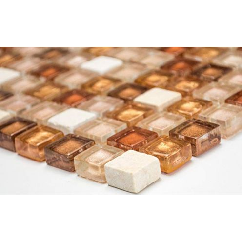 Mosaik-Netzwerk Quadrat Crystal/Stein mix