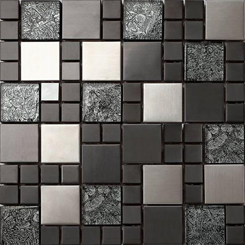 Glas und Edelstahl Mosaik Fliesen Matte