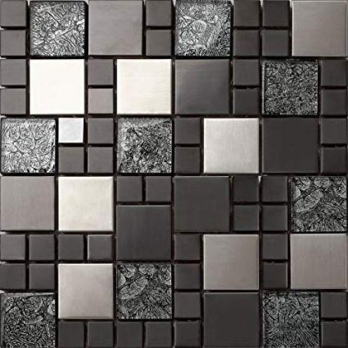 GTDE 1qm Glas und Edelstahl Mosaik Fliesen Schwarz