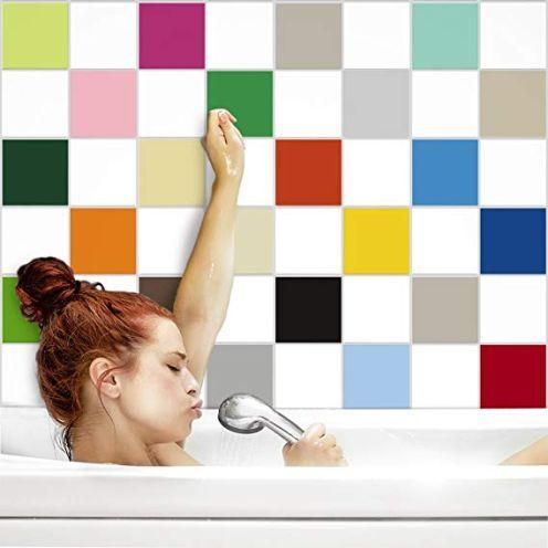 PrintYourHome Fliesenaufkleber für Küche und Bad Weiß matt