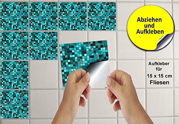 Uberlegen Tile Style Decals 24 Stück Fliesenaufkleber Für Küche Und Bad